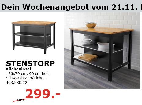 STENSTORP Kücheninsel Schwarzbraun/Eiche