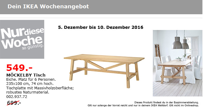 MÖCKELBY Tisch Eiche 235x100 cm, 74 cm hoch