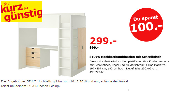 STUVA Hochbettkombination mit Schreibtisch 107x207 cm, 193 cm hoch