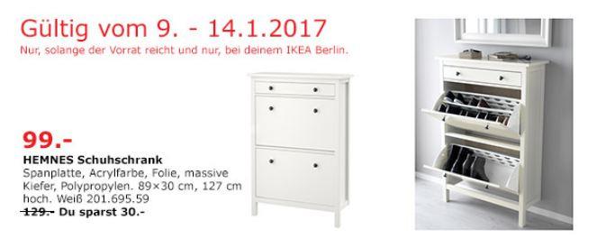 HEMNES Schuhschrank Weiß 89x30 cm, 127 cm hoch