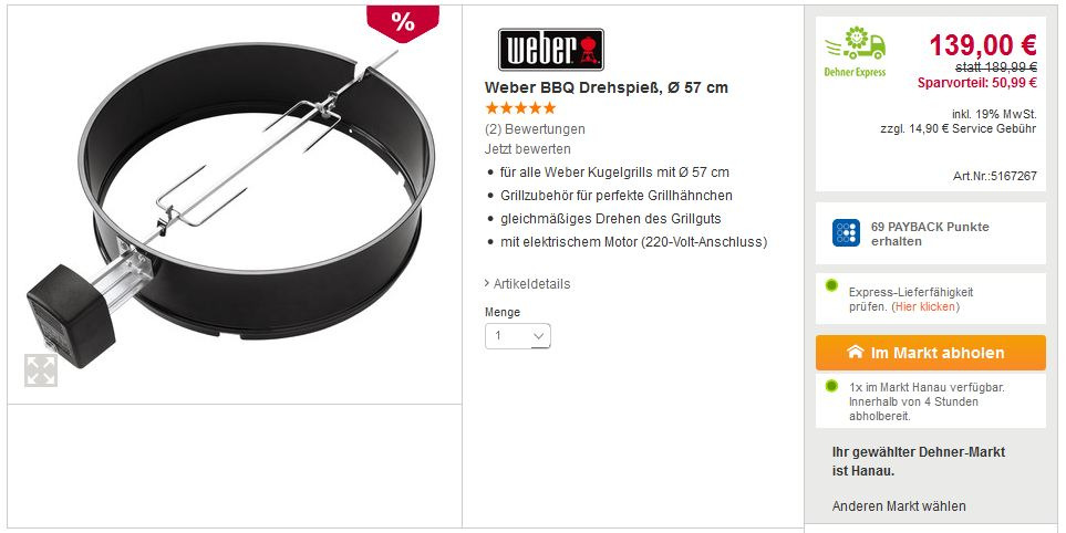 Weber BBQ Drehspieß 57cm - jetzt 26% billiger