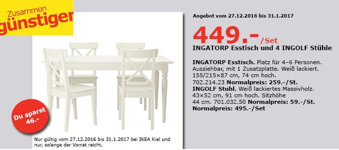 INGATORP Esstisch und 4 INGOLF Stühle, weiß - jetzt 9% billiger