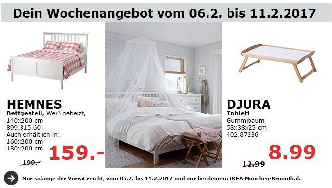 IKEA HEMNES Bettgestell, weiß, 140x200 cm