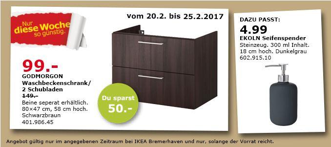 IKEA GODMORGON Waschbeckenschrank/2 Schubl., 80x47 cm, 58 cm hoch, schwarzbraun