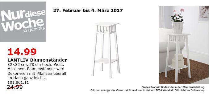 IKEA LANTLIV Blumenständer, 32x32 cm,78 cm hoch, weiß