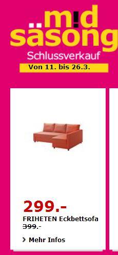 IKEA FRIHETEN Eckbettsofa, dunkelorange, 230×88/151 cm, 66 cm hoch