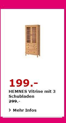 IKEA HEMNES Vitrine mit 3 Schubladen, massive Kiefer, 90×37 cm, 197 cm hoch. Hellbraun