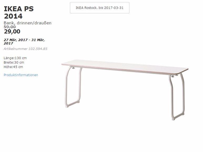 IKEA PS 2014 Bank, drinnen/draußen, 130x30x45 cm
