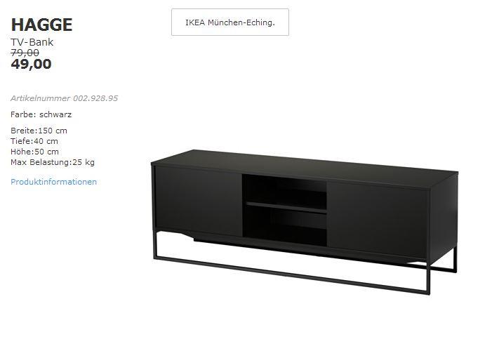 IKEA HAGGE TV-Bank schwarz, 150x40cm, Höhe50 cm