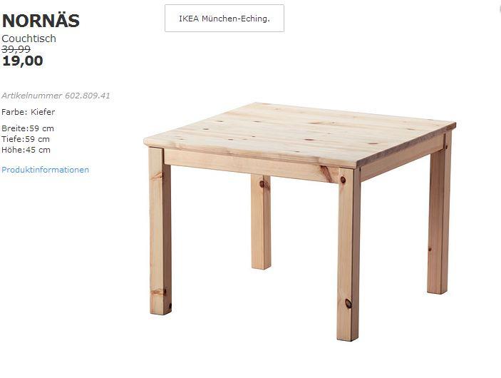 IKEA NORNÄS Couchtisch Kiefer, 59x59x45 cm