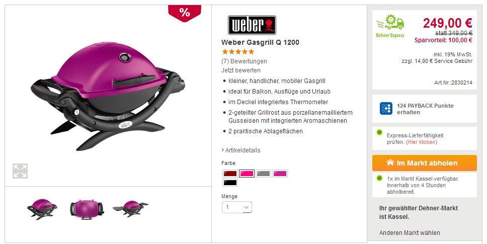 Weber Gasgrill Q 1200 Fuchsia