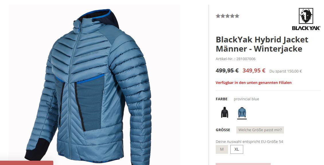 BlackYak Hybrid Jacket Männer - Winterjacke, XL, provincial blue