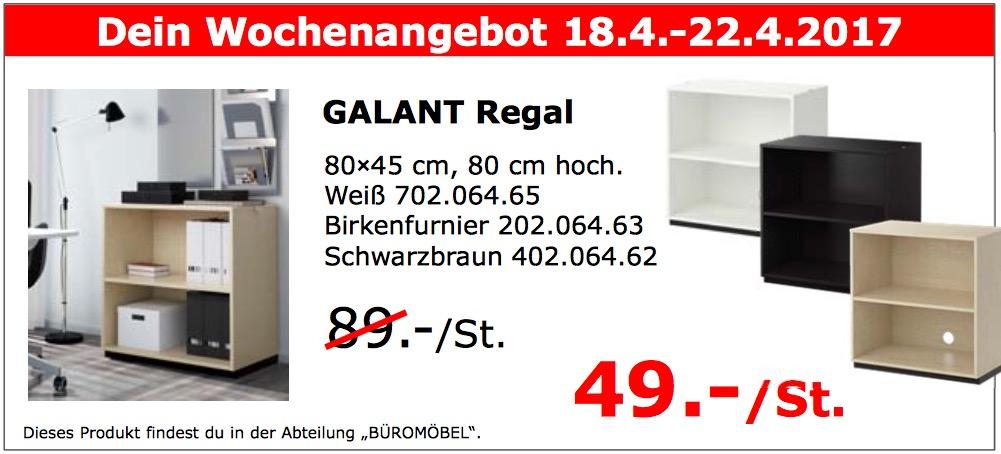 IKEA GALANT Regal 80×45 cm, 80 cm hoch. Weiß, Birkenfurnier, Schwarzbraun