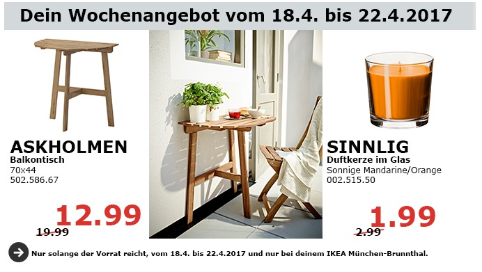 IKEA ASKHOLMEN Balkontisch, 70x44 cm.