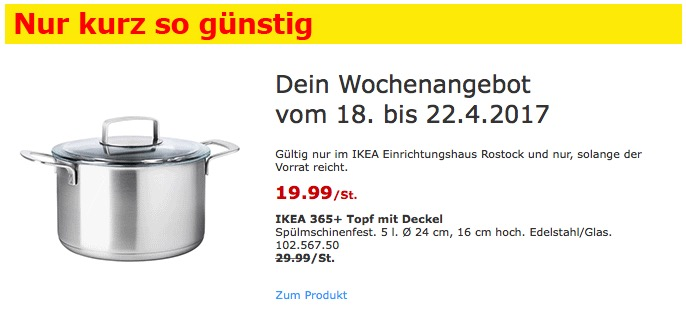 IKEA 365+ Topf mit Deckel Spülmschinenfest. 5 l. Ø 24 cm, 16 cm hoch. Edelstahl/Glas.