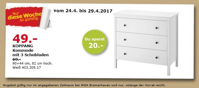 KOPPANG Kommode mit 3 Schubladen, weiß, 90x44 cm, 82 cm hoch.