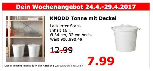 IKEA KNODD Tonne mit Deckel, 16 L, 32 cm hoch, weiß