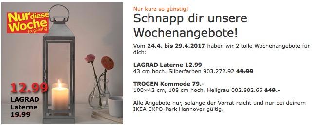 IKEA LAGRAD Laterne innen/außen, 43 cm hoch, silberfarben