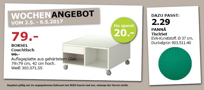 IKEA BOKSEL Couchtisch, 79x79 cm, 42 cm hoch, weiß