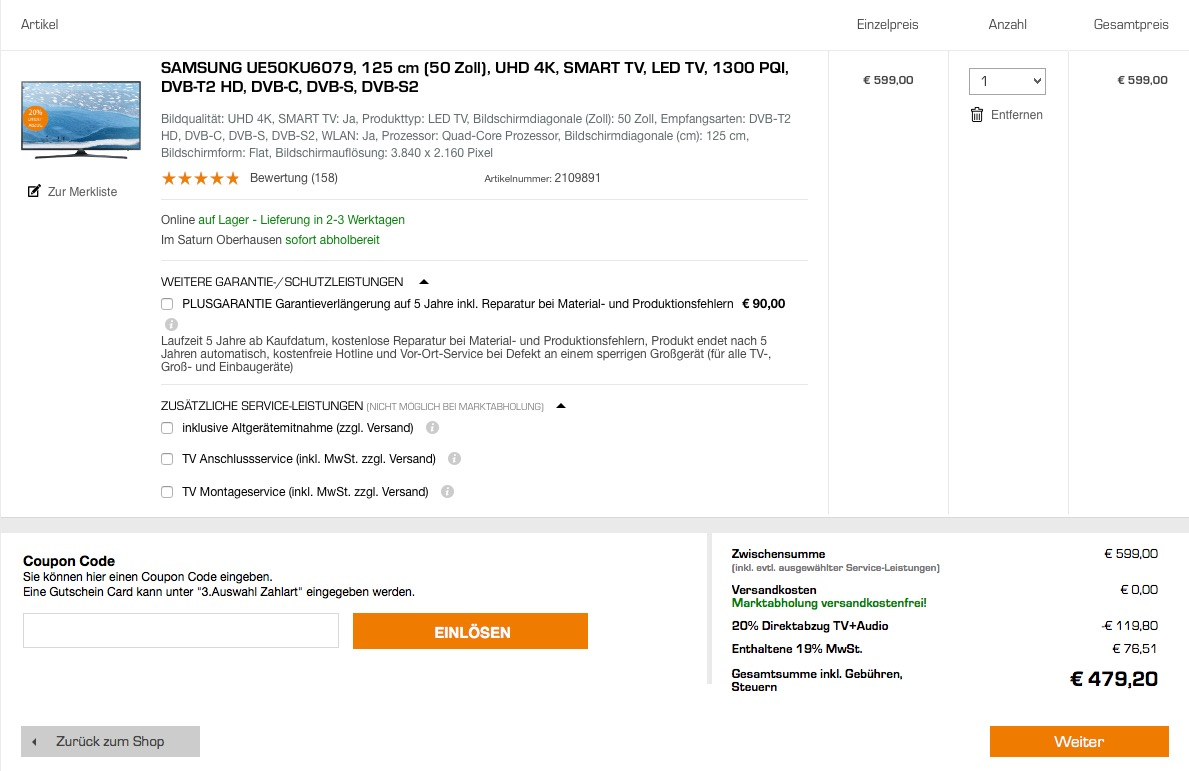 SAMSUNG UE50KU6079 125 cm (50 Zoll) Fernseher (Ultra HD, Triple Tuner, Smart TV)