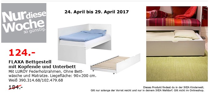 IKEA FLAXA Bettgest. mit Kopfende und Unterbett, weiß