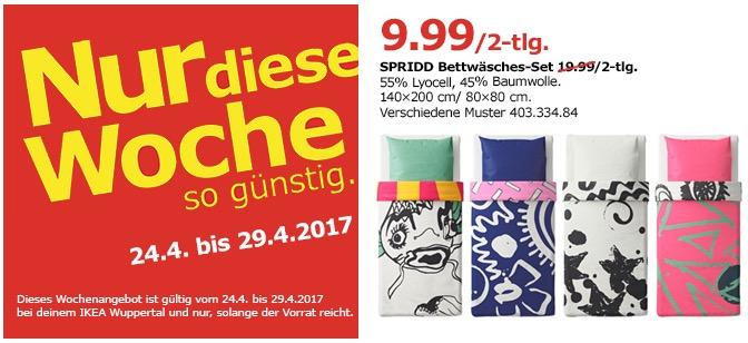 IKEA SPRIDD Bettwäscheset, 2-teilig, 140x200 cm, 80x80 cm, versch. Muster