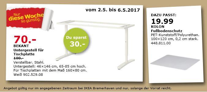 IKEA BEKANT Untergestell für Tischplatte, 46x146 cm, 65-85 cm hoch.