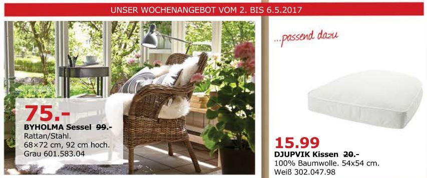 IKEA BYHOLMA Sessel Rattan/Stahl, 68x72 cm, 92 cm hoch