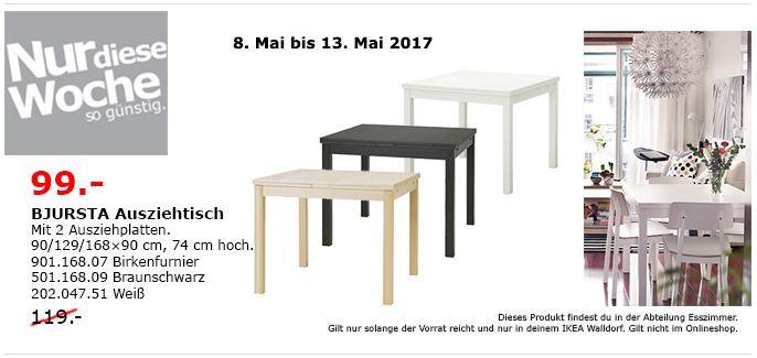 IKEA BJURSTA Ausziehtisch mit 2 Ausziehplatten, 90/129/168x90 cm, 74 cm hoch, weiß, birkenfurnier, braunschwarz