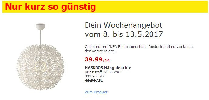 IKEA MASKROS Hängeleuchte
