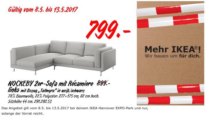 "IKEA NOCKEBY 2er-Sofa mit Recamiere links mit Bezug ""Tallmyra"" in weiß/schwarz"