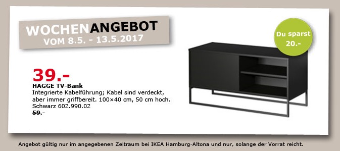 IKEA HAGGE TV-Bank, 100x40 cm, 50 cm hoch, schwarz