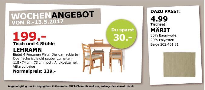 IKEA LEHRAMN Tisch und 4 Stühle, 118x74 cm, 73 cm hoch, antikbeize hell.