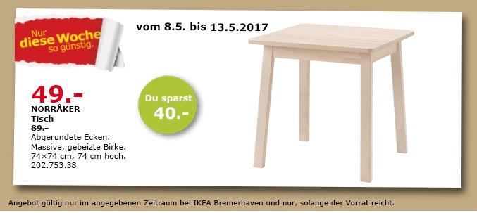 IKEA NORRAKER Tisch, 74x74 cm, 74 cm hoch, gebeizte Birke