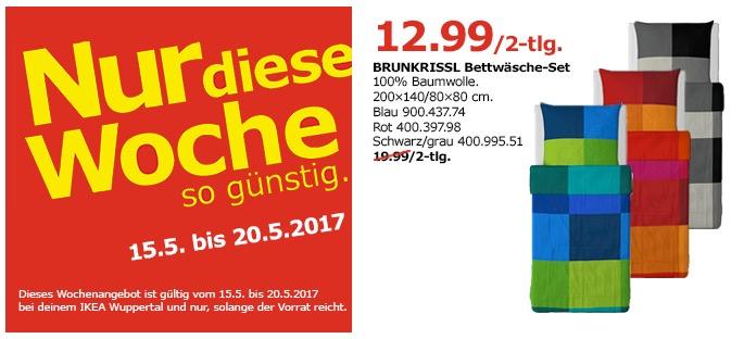 IKEA BRUNKRISSL Bettwäsche-Set, 100% Baumwolle, 200x140/80x80 cm, blau, rot, schwarz/grau.
