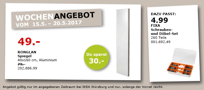 IKEA RONGLAN Spiegel 40x60 cm, Aluminium