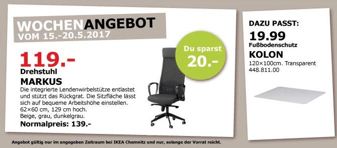IKEA MARKUS Drehstuhl, 62-60 cm, 129-140 cm hoch, dunkelgrau