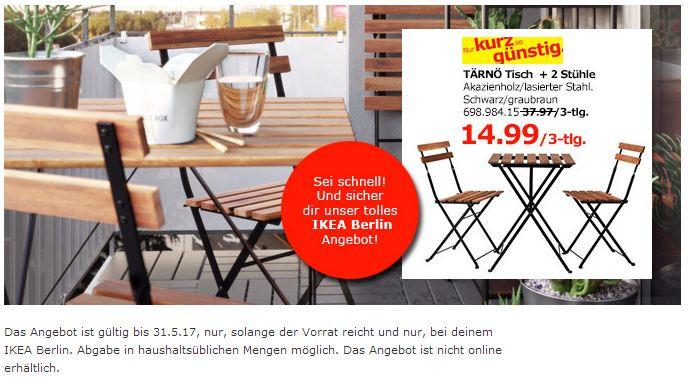 TÄRNÖ Tisch+2 Stühle/außen, schwarz Akazie, Stahl graubraun lasiert