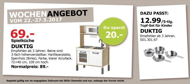 IKEA DUKTIG Spielküche, empfohlen ab 3 Jahren, 72x40 cm, 109 cm hoch.