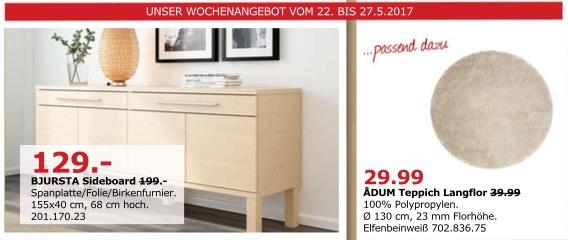 IKEA BJURSTA Sideboard, 155x40 cm, 68 cm hoch, Birkenfurnier