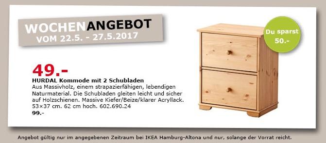 IKEA HURDAL Kommode mit 2 Schubladen, 53x37 cm, 62 cm hoch, massive Kiefer