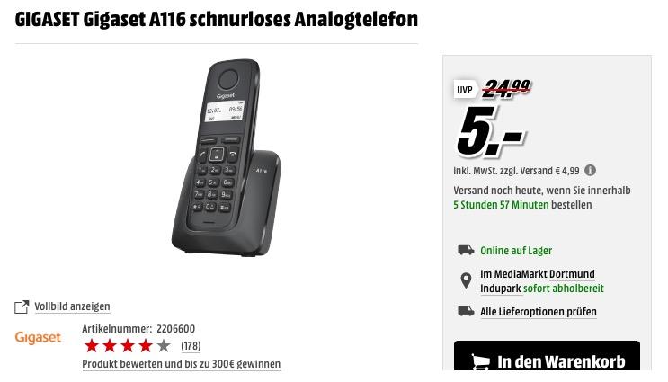 GIGASET Gigaset A116 schnurloses Analogtelefon