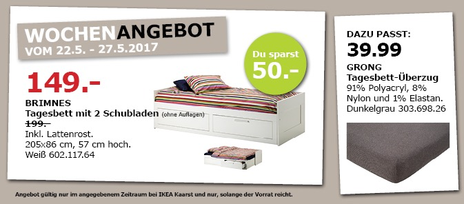 IKEA BRIMNES Tagesbett mit 2 Schubladen, inkl. Lattenrost, 205x86 cm, 57 cm hoch, weiß.