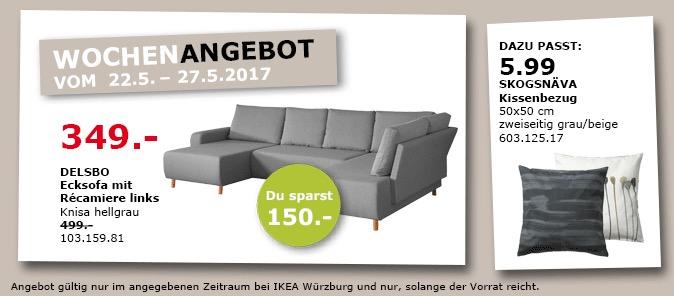 IKEA DELSBO Ecksofa mit Repariere links, Knies hellgrau