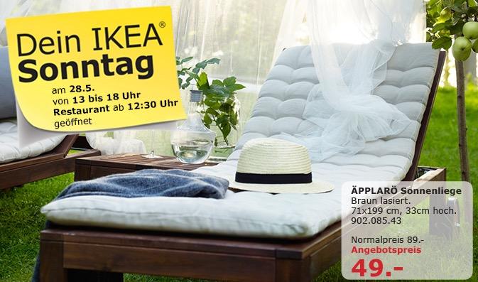 IKEA ÄPPLARO Sonnenliege, braun lasiert, 71x199 cm, 33 cm hoch