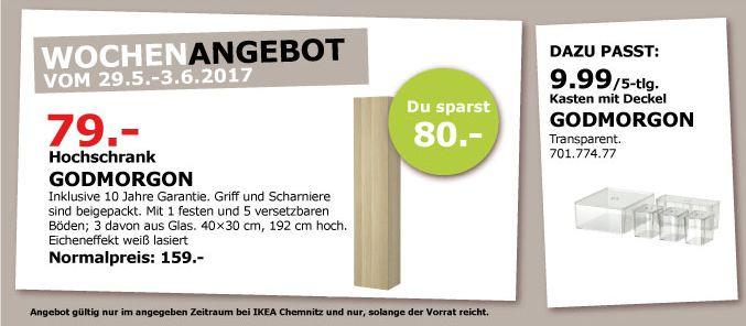 IKEA  GODMORGON Hochschrank, 40x32x192 cm, Eicheneffekt weiß lasiert
