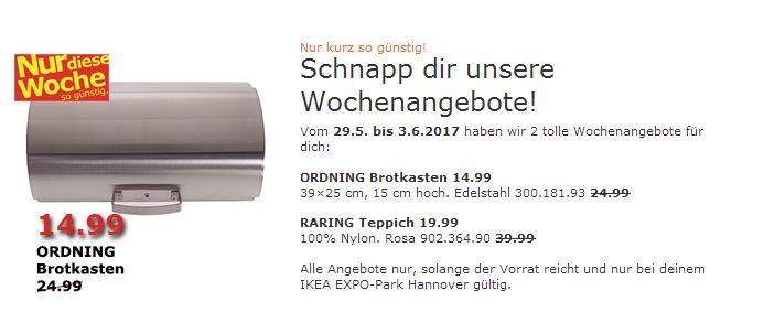 IKEA ORDNING Brotkasten 14.99 39×25 cm, 15 cm hoch. Edelstahl