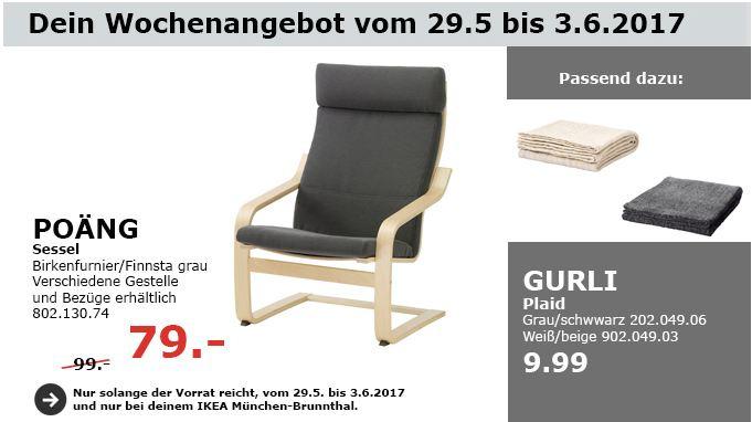 IKEA POÄNG Sessel, birkenfurnier grau