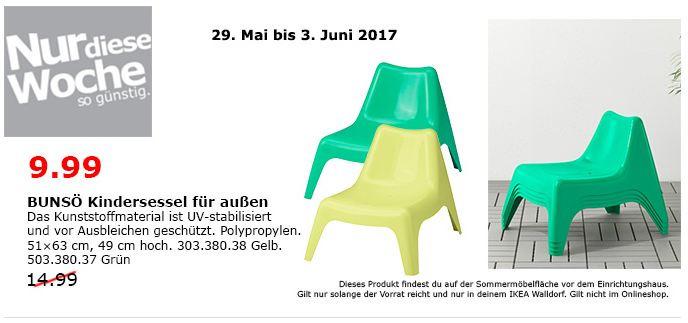 IKEA BUNSÖ Kindersessel für außen, 51x63 cm. 49 cm hoch, gelb oder grün