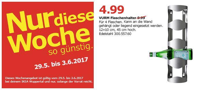 IKEA  VURM Halter für 4 Flaschen, Edelstahl